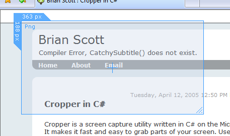 Cropper screen capture freeware UI